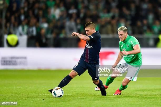 Marco Verratti of Paris Saint Germain Jordan Veretout of Saint Etienne during the Ligue 1 match between AS Saint Etienne and Paris Saint Germain...