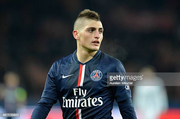 Marco Verratti of Paris Saint Germain reacts during the 23rd day of the French Ligue 1 between Paris Saint Germain and Stade Remmais at Parc des...