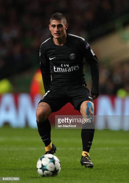 Marco Verratti of Paris SaintGermain controls the ball during the UEFA Champions League Group B match Between Celtic and Paris SaintGermain at Celtic...