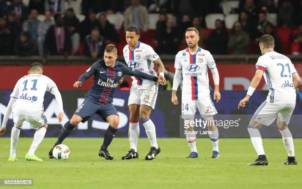 Marco Verratti of Paris SaintGermain in action during the French Ligue 1 match between Paris Saint Germain and Lyon OL at Parc des Princes on March...