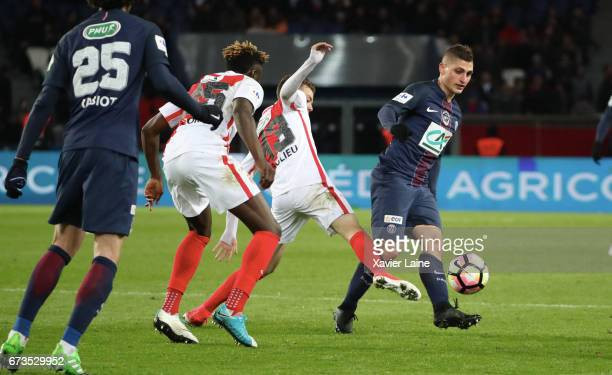 Marco Verratti of Paris SaintGermain in action during the French Cup SemiFinal match between Paris SaintGermain and As Monaco at Parc des Princes on...
