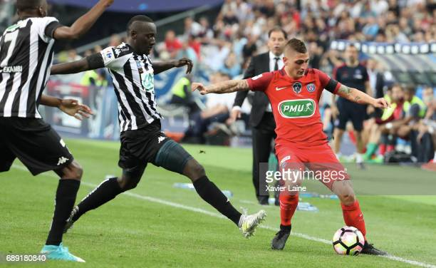 Marco Verratti of Paris SaintGermain in action during the French Cup Final match between Paris SaintGermain and SCO Angers at Stade de France on May...