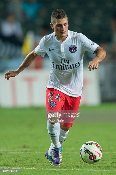Marco Verratti of Paris SaintGermain in action during the friendly match between Kitchee and Paris SaintGermain at Hong Kong Stadium on July 29 2014...