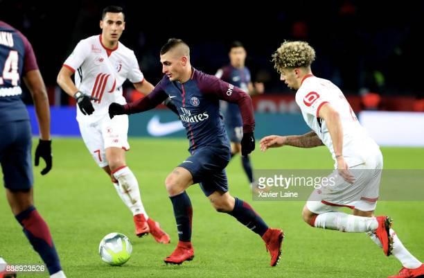 Marco Verratti of Paris SaintGermain in action during the Ligue 1 match between Paris Saint Germain and Lille OSC at Parc des Princes on December 9...