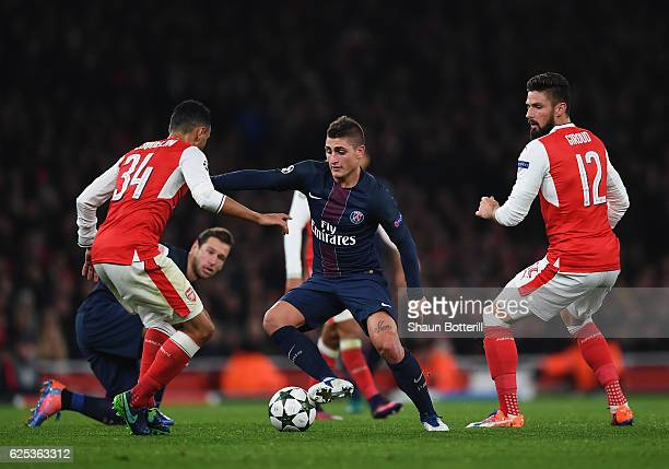 Marco Verratti of Paris SaintGermain in action during the UEFA Champions League match between Arsenal FC and Paris SaintGermain at Emirates Stadium...