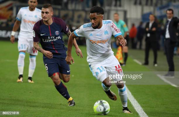 Marco Verratti of Paris SaintGermain in action with Jordan Amavi of Olympique Marseille during the Ligue 1 match between Olympique Marseille and...
