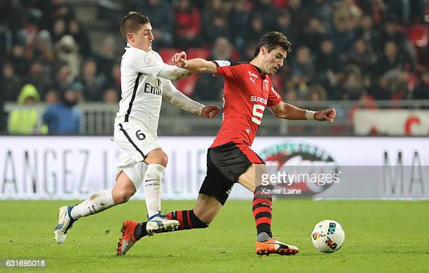 Marco Verratti of Paris SaintGermain in action with Yoann Gourcuff of Stade de Rennes during the French Ligue 1 match between Stade de Rennes and...