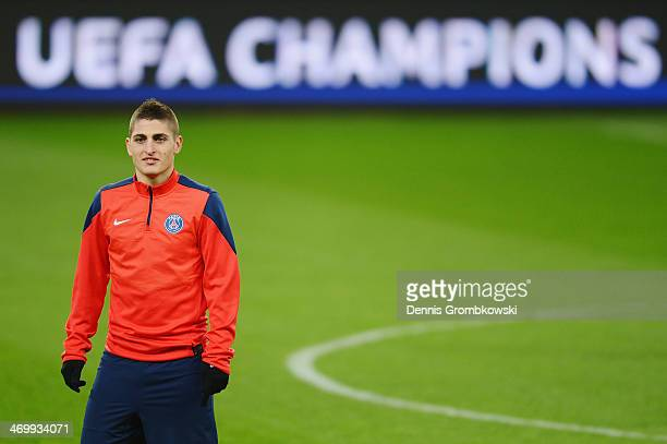 Marco Verratti of Paris SaintGermain looks on during a training session ahead of the UEFA Champions League match between Bayer Leverkusen and Paris...