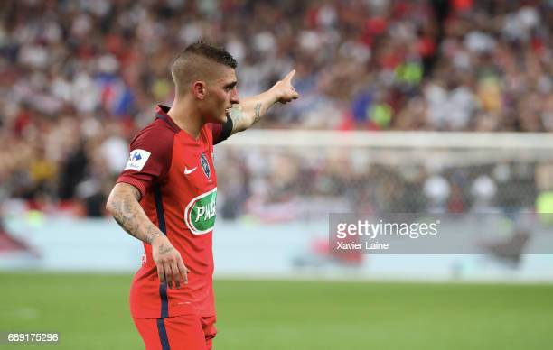 Marco Verratti of Paris SaintGermain reacts during the French Cup Final match between Paris SaintGermain and SCO Angers at Stade de France on May 27...