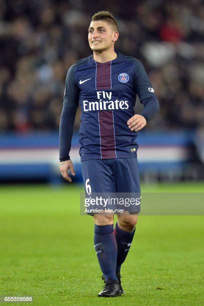 Marco Verratti of Paris SaintGermain reacts during the French Ligue 1 match between Paris Saint Germain and Lyon at Parc des Princes on March 19 2017...