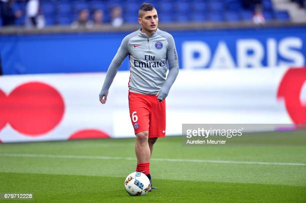 Marco Verratti of Paris SaintGermain reacts during warmup before the Ligue 1 match between Paris SaintGermain and Bastia at Parc des Princes on May 6...
