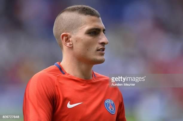 Marco Verratti of Paris SaintGermain reacts during warmup before the Ligue 1 match between Paris SaintGermain and Amiens at Parc des Princes on...