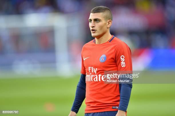Marco Verratti of Paris SaintGermain reacts during warmup before the Ligue 1 match between Paris SaintGermain and Toulouse at Parc des Princes on...