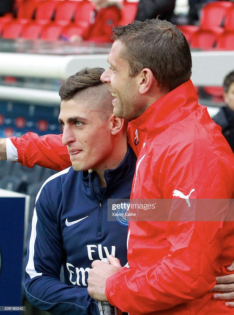 <a gi-track='captionPersonalityLinkClicked' href=/galleries/search?phrase=Marco+Verratti&family=editorial&specificpeople=7256509 ng-click='$event.stopPropagation()'>Marco Verratti</a> of Paris Saint-Germain reacts with Sylvain Armand of Stade Rennais during the French Ligue 1 match between Paris Saint-Germain and Stade Rennais at Parc des Princes on April 29, 2016 in Paris, France.