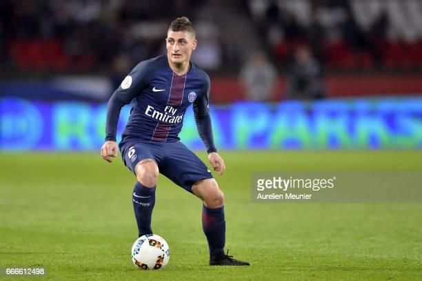 Marco Verratti of Paris SaintGermain runs with ball scoring during the Ligue 1 match between EA Guingamp and Paris SaintGermain at Parc des Princes...