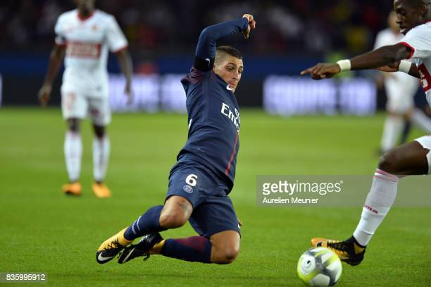 Marco Verratti of Paris SaintGermain tackles the ball during the Ligue 1 match between Paris SaintGermain and Toulouse at Parc des Princes on August...