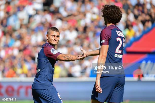 Marco Verratti of PSG and Adrien Rabiot of PSG during the Ligue 1 match between Paris Saint Germain and Amiens SC at Parc des Princes on August 5...