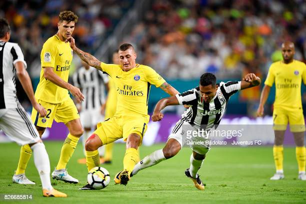 Marco Verratti of PSG and Alex Sandro of Juventus in action during the International Champions Cup 2017 match between Paris Saint Germain and...