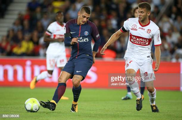 Marco Verratti of PSG and Alexis Blin of Toulouse during the French Ligue 1 match between Paris Saint Germain and Toulouse FC at Parc des Princes on...