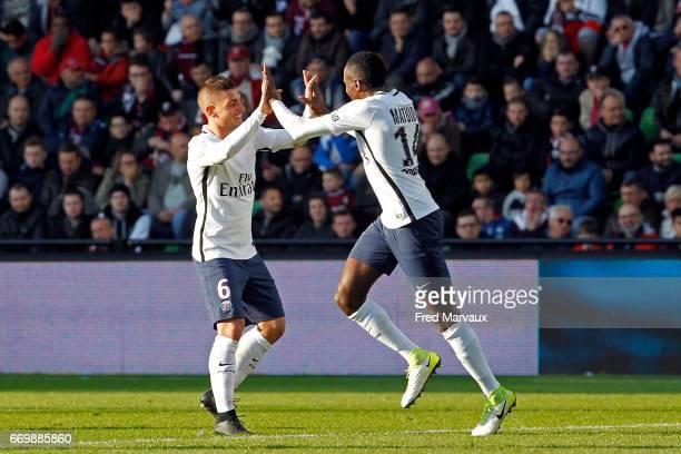 Marco Verratti of PSG and Blaise Matuidi of PSG celebrates scoring his goal during the Ligue 1 match between Fc Metz and Paris SaintGermain at Stade...