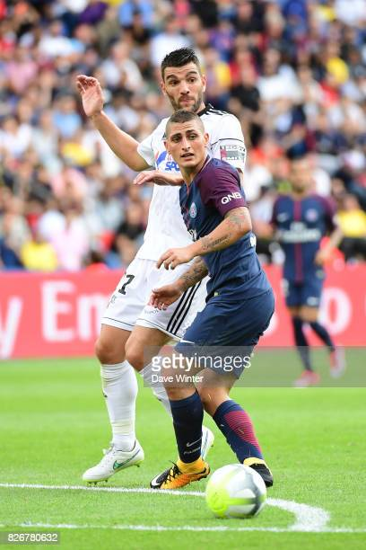 Marco Verratti of PSG and Charly Charrier of Amiens during the Ligue 1 match between Paris Saint Germain and Amiens SC at Parc des Princes on August...