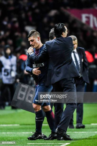 Marco Verratti of PSG and coach of PSG Unai Emery during the French Ligue 1 match between Paris Saint Germain and Lyon at Parc des Princes on March...