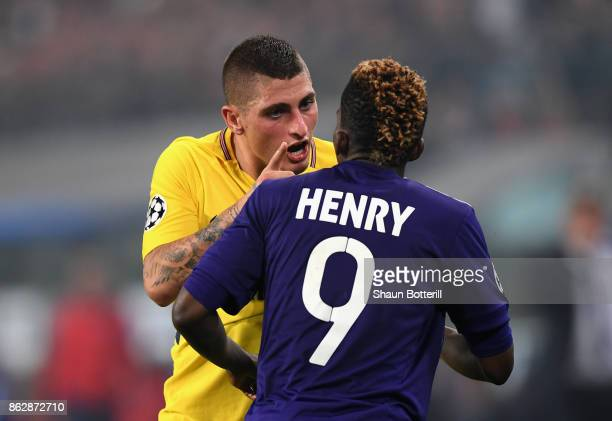 Marco Verratti of PSG and Henry Onyekuru of RSC Anderlecht argue during the UEFA Champions League group B match between RSC Anderlecht and Paris...