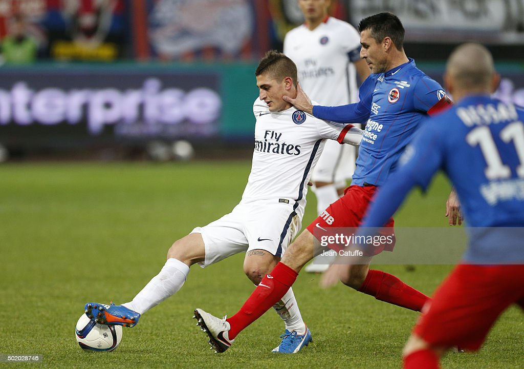 Marco Verratti of PSG and Julien Feret of Caen in action during the French Ligue 1 match between Stade Malherbe de Caen and Paris SaintGermain at...