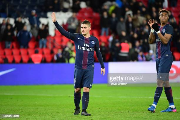 Marco Verratti of PSG and Kimpembe Presnel of PSG celebrate as their side wins the French Ligue 1 match between Paris Saint Germain and Nancy at Parc...