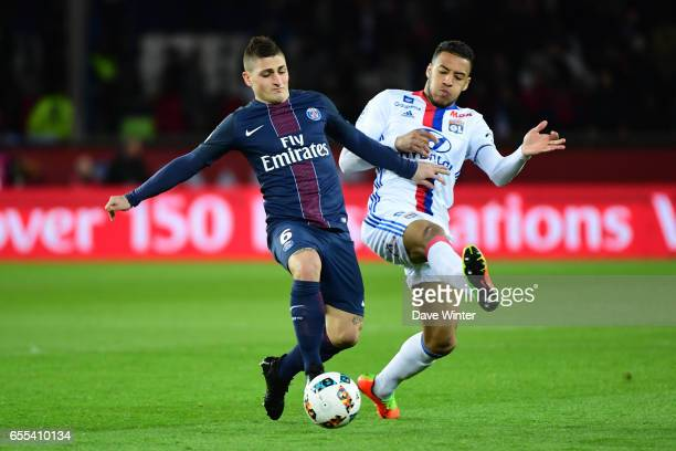 Marco Verratti of PSG and Memphis Depay of Lyon during the French Ligue 1 match between Paris Saint Germain and Lyon at Parc des Princes on March 19...
