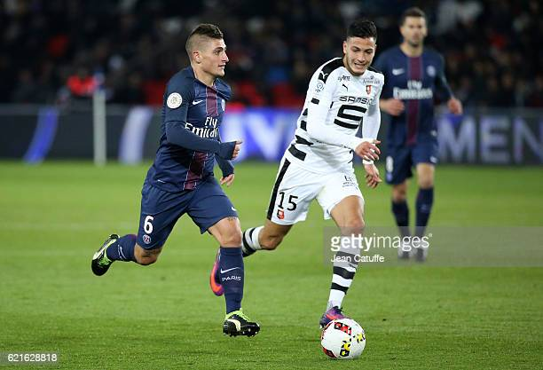 Marco Verratti of PSG and Ramy Bensebaini of Rennes in action during the French Ligue 1 match between Paris SaintGermain and Stade Rennais FC at Parc...