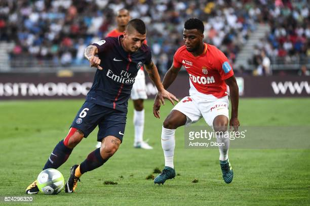 Marco Verratti of PSG and Thomas Lemar of Monaco during the Champions Trophy match between Monaco and Paris Saint Germain at Stade IbnBatouta on July...