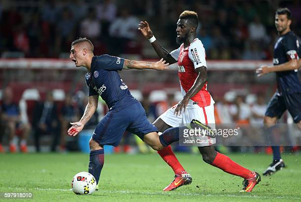 Marco Verratti of PSG and Tiemoue Bakayoko of Monaco in action during the French Ligue 1 match between AS Monaco and Paris SaintGermain at Stade...