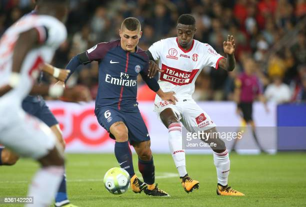 Marco Verratti of PSG and Wergiton Somalia of Toulouse during the French Ligue 1 match between Paris Saint Germain and Toulouse FC at Parc des...