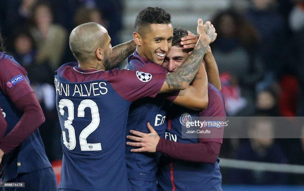Marco Verratti of PSG celebrates his goal with Dani Alves aka Daniel Alves, Marquinhos during the UEFA Champions League group B match between Paris Saint-Germain (PSG) and RSC Anderlecht at Parc des Princes on October 31, 2017 in Paris, France.