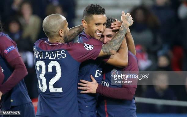 Marco Verratti of PSG celebrates his goal with Dani Alves aka Daniel Alves Marquinhos during the UEFA Champions League group B match between Paris...