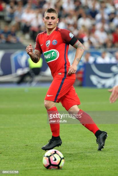 Marco Verratti of PSG during the French Cup final between Paris SaintGermain and SCO Angers at Stade de France on May 27 2017 in SaintDenis near...