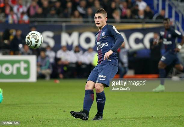 Marco Verratti of PSG during the French League Cup final between Paris SaintGermain and AS Monaco at Parc OL on April 1 2017 in Lyon France
