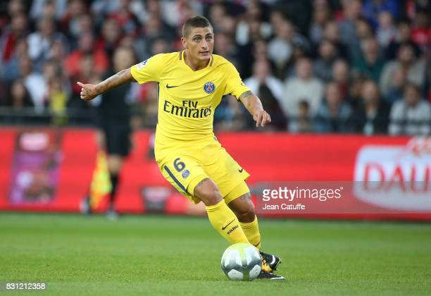 Marco Verratti of PSG during the French Ligue 1 match between En Avant Guingamp and Paris Saint Germain at Stade de Roudourou on August 13 2017 in...