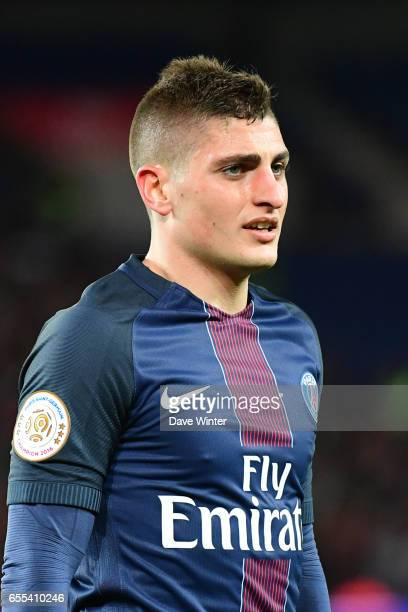 Marco Verratti of PSG during the French Ligue 1 match between Paris Saint Germain and Lyon at Parc des Princes on March 19 2017 in Paris France