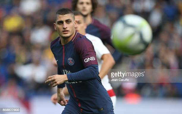 Marco Verratti of PSG during the French Ligue 1 match between Paris SaintGermain and FC Girondins de Bordeaux at Parc des Princes on September 30...