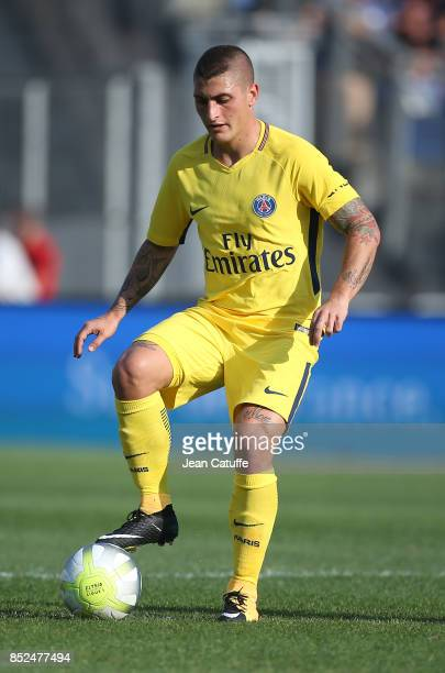 Marco Verratti of PSG during the French Ligue 1 match between Montpellier Herault SC and Paris Saint Germain at Stade de la Mosson on September 23...