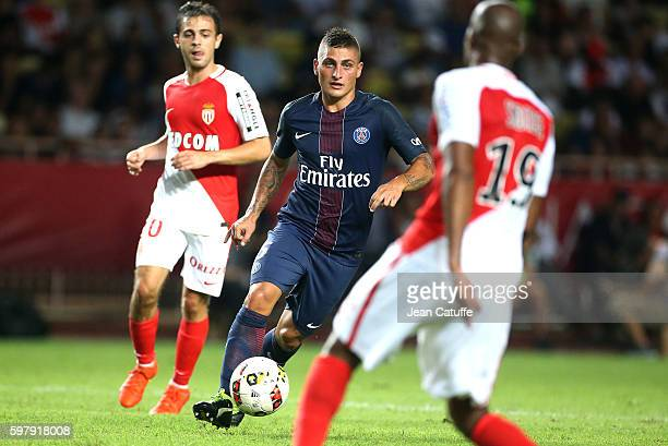 Marco Verratti of PSG in action during the French Ligue 1 match between AS Monaco and Paris SaintGermain at Stade Louis II on August 28 2016 in...