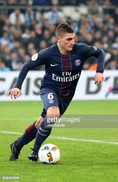 Marco Verratti of PSG in action during the French Ligue 1 match between Olympique de Marseille and Paris Saint Germain at Stade Velodrome on February...
