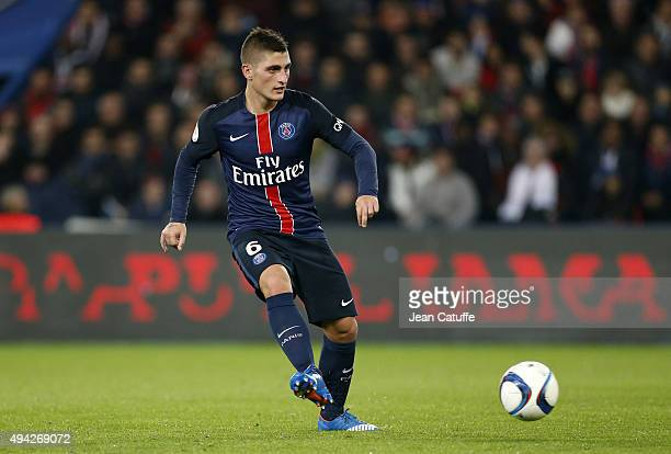 Marco Verratti of PSG in action during the French Ligue 1 match between Paris SaintGermain and AS SaintEtienne at Parc des Princes stadium on October...