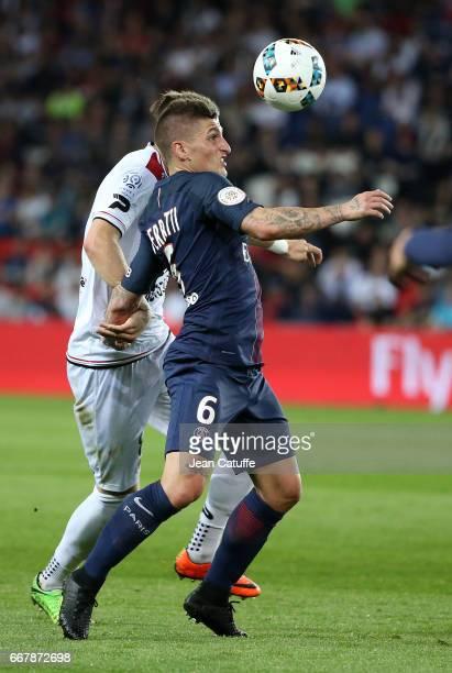 Marco Verratti of PSG in action during the French Ligue 1 match between Paris SaintGermain and En Avant Guingamp at Parc des Princes on April 9 2017...