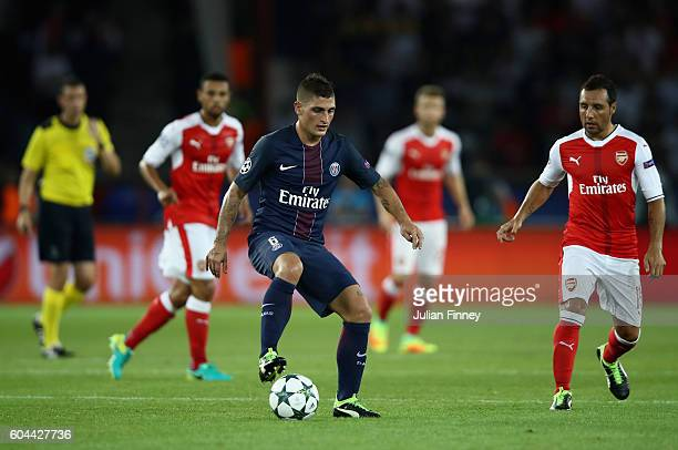 Marco Verratti of PSG in action during the UEFA Champions League Group A match between Paris SaintGermain and Arsenal FC at Parc des Princes on...