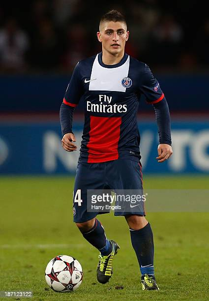 Marco Verratti of PSG in action during the UEFA Champions League Group C match between Paris Saint Germain and RSC Anderlecht at Parc des Princes on...