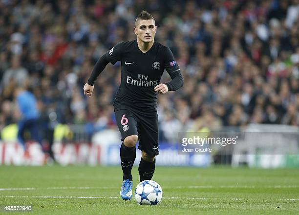 Marco Verratti of PSG in action during the UEFA Champions League match between Real Madrid and Paris SaintGermain at Santiago Bernabeu stadium on...