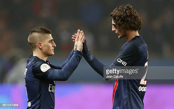 Marco Verratti of PSG is replacing Adrien Rabiot of PSG during the French Ligue 1 match between Paris SaintGermain and Olympique Lyonnais at Parc des...